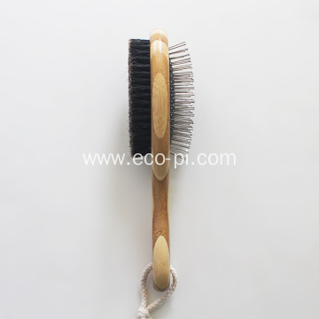 Eco-Friendly Bamboo Dual Head Pet Grooming Brush